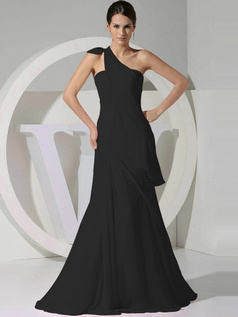 Graceful A-line Chiffon One shoulder Tiered Black Bridesmaid Dresses