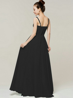 Appealing Sheath/Column Spaghetti Straps Straps Draped Black Bridesmaid Dresses
