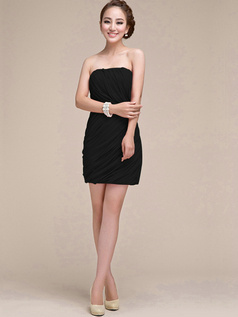 Appealing Sheath/Column Tube Top Strapless Sashes/Ribbons Black Bridesmaid Dresses