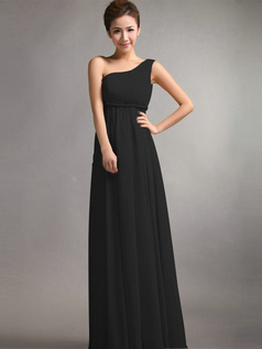 Beautiful A-Line One shoulder Draped Black Bridesmaid Dresses