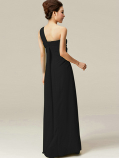 Beautiful A-Line One shoulder Flower Black Bridesmaid Dresses