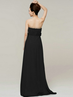 Beautiful A-Line Tube Top Strapless Flower Black Bridesmaid Dresses