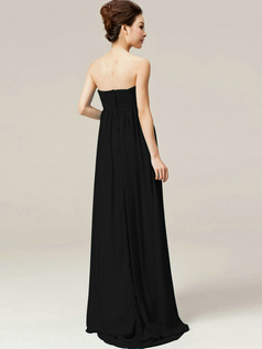 Elegant A-Line Tube Top Strapless Draped Black Bridesmaid Dresses
