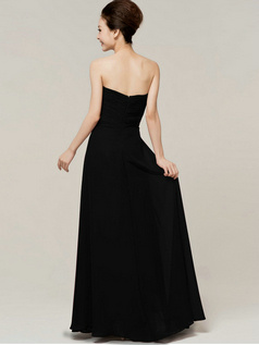 Elegant Sheath/Column Sweetheart Strapless Draped Black Bridesmaid Dresses