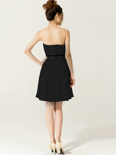 Lovely A-Line Sweetheart Strapless Sashes/Ribbons Black Bridesmaid Dresses