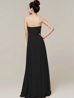Noble A-Line Tube Top Strapless Sashes/Ribbons Black Bridesmaid Dresses