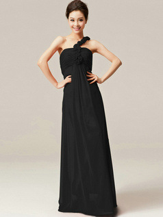 Noble Sheath/Column One shoulder Flower Black Bridesmaid Dresses