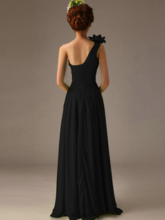 Surpassingly Beautiful A-Line One shoulder Flower Black Bridesmaid Dresses