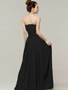 Tactile Sensation Sheath/Column Sweetheart Strapless Sashes/Ribbons Black Bridesmaid Dresses