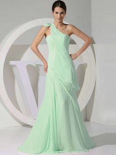 A-line Chiffon One Shoulder Tiered Draped Sage Bridesmaid Dresses