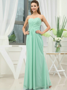 Column Chiffon Sweetheart Floor-length Wrap Pleats Sage Bridesmaid Dresses