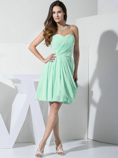 A-line Chiffon Sweetheart Ruffles Wrap Pleats Sage Bridesmaid Dresses