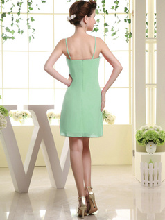Sheath Chiffon Tube Top Spaghetti Straps Ruffle Short Sage Bridesmaid Dresses