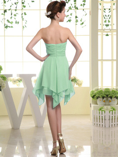 A-line Chiffon Sweetheart Bowknot Short Sage Bridesmaid Dresses