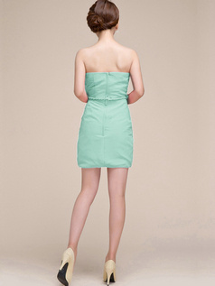 Sheath Ruched Tube Top Strapless Short Sage Bridesmaid Dresses