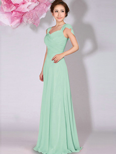 A-Line Sweetheart Straps Draped Floor Length Sage Bridesmaid Dresses