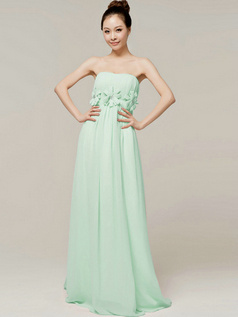 Column Brush Train Tube Top Strapless Flower Sage Bridesmaid Dresses