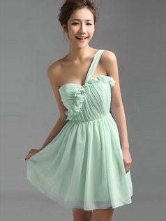 A-Line One Shoulder Falbala Short Draped Sage Bridesmaid Dresses