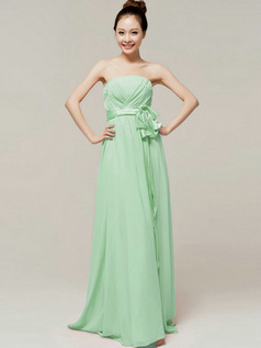 Noble A-Line Floor Length Wrap Pleats Tube Top Strapless Sashes Sage Bridesmaid Dresses