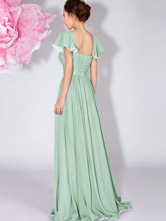 A-Line Bateau Draped Falbala Sleeves Floor Length Sage Bridesmaid Dresses