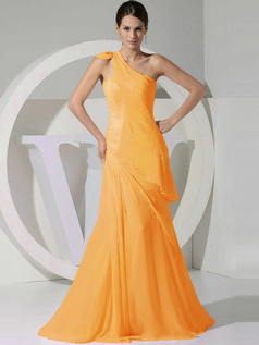 A-line Chiffon One Shoulder Tiered Draped Orange Bridesmaid Dresses