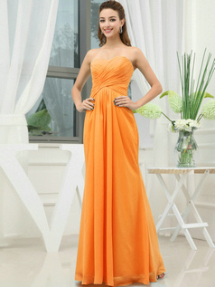 Column Chiffon Sweetheart Floor-length Wrap Pleats Orange Bridesmaid Dresses