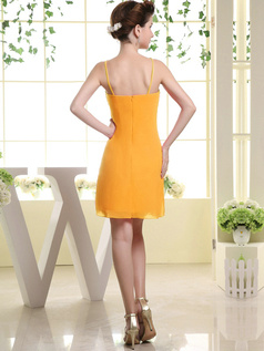 Sheath Chiffon Tube Top Spaghetti Straps Ruffle Short Orange Bridesmaid Dresses