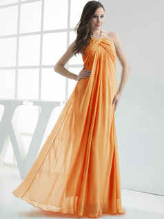 Column Chiffon Halter Floor-length Pleats Orange Bridesmaid Dresses