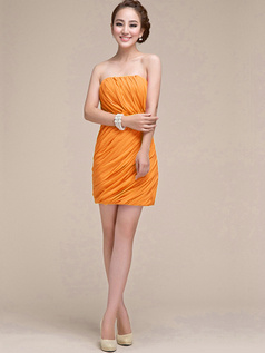 Sheath Ruched Tube Top Strapless Short Orange Bridesmaid Dresses