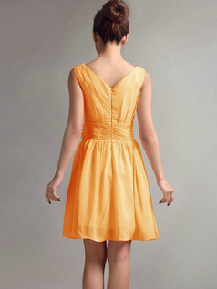 A-Line V-neck Straps Flower Sash Draped Short Orange Bridesmaid Dresses