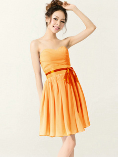 A-Line Sweetheart Strapless with Ribbons Short Orange Bridesmaid Dresses