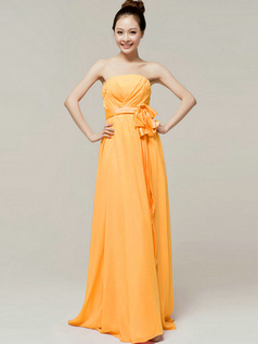 Noble A-Line Floor Length Wrap Pleats Tube Top Strapless Sashes Orange Bridesmaid Dresses