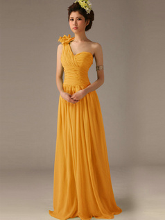 A-Line One Shoulder with Flower Floor Length Wrap Pleats Orange Bridesmaid Dresses