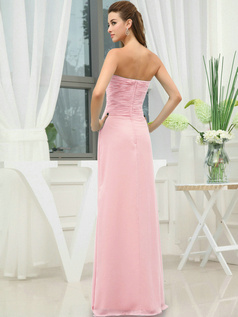 Column Chiffon Sweetheart Floor-length Wrap Pleats Pink Bridesmaid Dresses