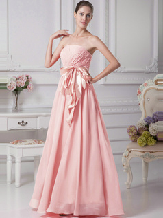A-Line Chiffon Floor Length Tube Top Ruffle Sashes Pink Bridesmaid Dresses