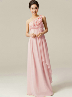 A-Line Floor Length One Shoulder Flowers Pink Bridesmaid Dresses