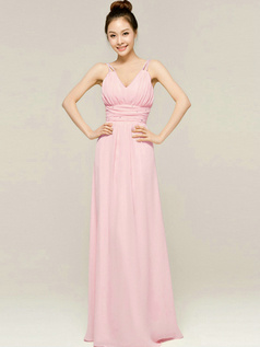 Column Floor Length Spaghetti Straps V Neck Draped Pink Bridesmaid Dresses