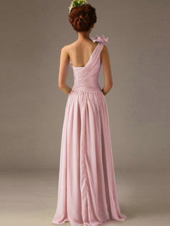 A-Line One Shoulder with Flower Floor Length Wrap Pleats Pink Bridesmaid Dresses