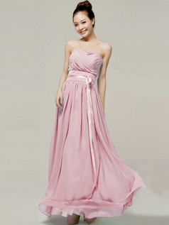 Column Sweetheart Strapless Ribbons Floor Length Pink Bridesmaid Dresses