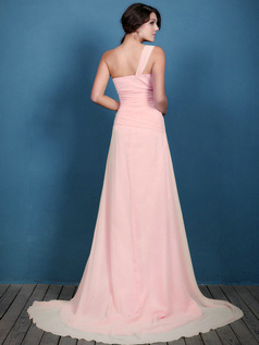 A-line Chiffon Ruched One Shoulder Sweep Light Pink Bridesmaid Dresses