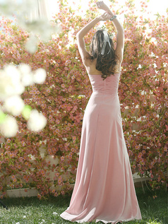 Ruffles A-line Chiffon Sweetheart Floor-length Draped Light Pink Bridesmaid Dresses