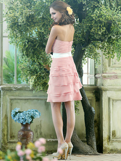 Sheath Chiffon Strapless Short Tiered Sash Light Pink Bridesmaid Dresses