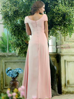 Modest A-line Chiffon Short Sleeves Cowl Neck Ankle-length Draped Front Light Pink Bridesmaid Dresses