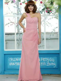 Column Chiffon One shoulder Floor-length Draped Light Pink Bridesmaid Dresses