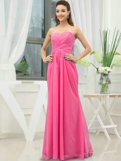 Column Chiffon Sweetheart Floor-length Wrap Pleats Hot Pink Bridesmaid Dresses