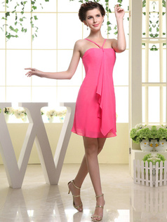 Sheath Chiffon Tube Top Spaghetti Straps Ruffle Short Hot Pink Bridesmaid Dresses