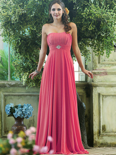 Pleated A-line Chiffon Strapless Floor-length Hot Pink Sash with Crystals and Rhinestones Bridesmaid Dresses