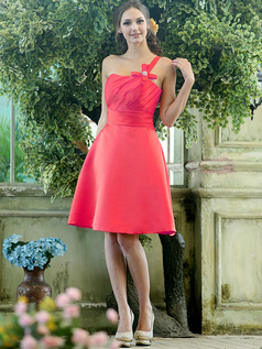 Column Chiffon One shoulder Floor-length Hot Pink Draped Bridesmaid Dresses