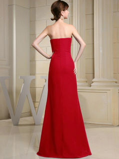 Column Chiffon Sweetheart Floor-length Ruched Red Bridesmaid Dresses