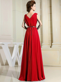 Column Chiffon V-neck Floor-length Draped Red Bridesmaid Dresses